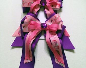 Purple Horse Show Bows, Equestrian Hair Bow, set of 2