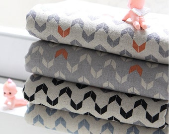 Cotton Linen Fabric - Blue, Gray, Black or Orange - By the Yard 63876