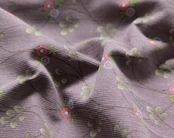 Cotton Corduroy Fine Wale Flowers and Vine - Violet - By the Yard 70635