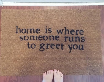 "Couples Custom Made  Outdoor Doormat/Welcome Mat ""Home is Where..."""