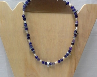 Varigated Purple Glass Beaded Necklace using Washers