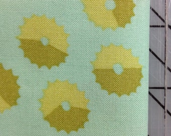 1 yard Martha Negley - Rose Garden - Whirl in Bright - Teal blue green with whirls of tan and olive
