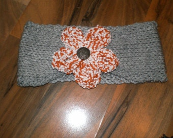 SALE ladies lovely hand knitted grey headband with large knitted flower