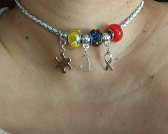 Autism Awareness Necklace, Leather Choker with Puzzle charm, Initial jewelry, Personalized Pendant Necklace