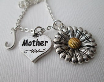 Mother Necklace, Sunflower Initial Necklace