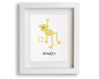 Monkey Nursery Art Print - Jungle Children's Decor, Baby's Nursery, Kids Wall Art, Playroom Decor, Zoo Animal Art, Toddler Room