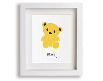 NEW Bear Nursery Art Print - Woodland Nursery, Children's Decor, Baby's Nursery, Kids Wall Art, Playroom Decor, Cute Animal, Toddler Room