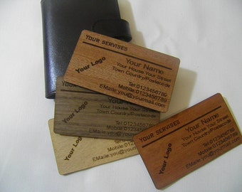 Wooden Business Cards - Engraved Real Wood Veneer Business Cards - Wood Cards - Set of 100