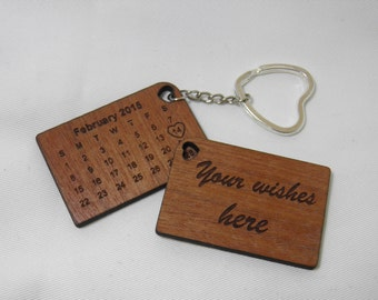 personalized keychain,Keychain calendar, gift for newlyweds, wooden keychain with laser engraved, engraved to order