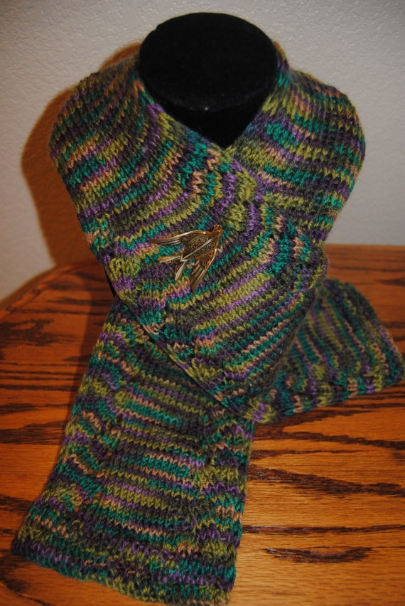 Multi Colored Scarf Knitting Pattern : Hand knitted multi colored scarf with beautiful gold vintage