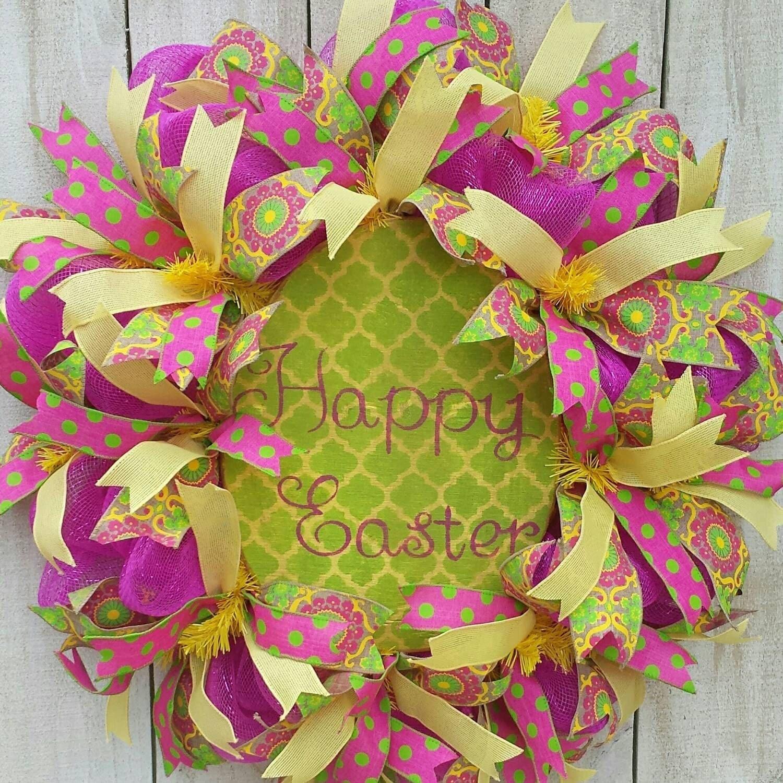 Easter wreath spring wreath easter door wreath for How to make door wreaths for spring