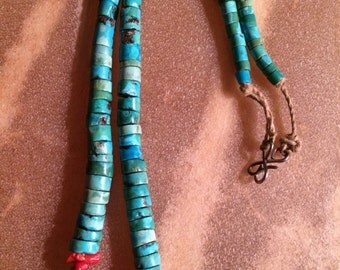 Old Dead Pawn Santo Domingo Handmade Ceramonial Turquoise & Coral Necklace