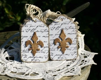 Handmade Gift Tags Set of 10 - Fleur De Lis - Everyday Tag - All Occasion Tags - Vintage Style Tag