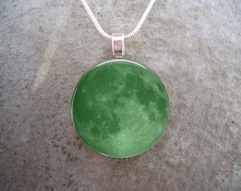 Green Full Moon Necklace - Glass Pendant - Astronomy Jewelry - RETIRING 2017