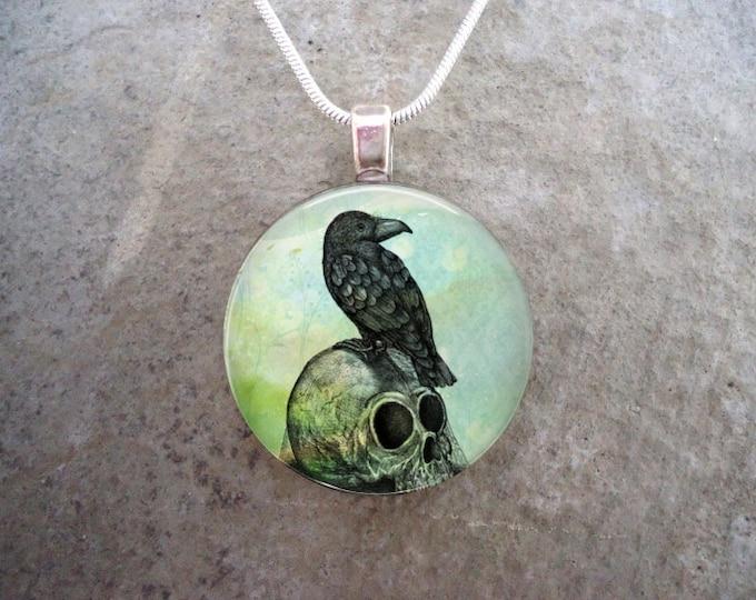 Crow Jewelry - Bird Jewellery - Glass Pendant Necklace - Raven 1