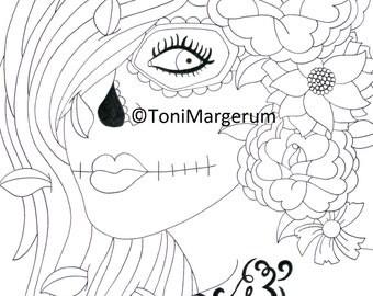 Sugar Skull Girl, Digital Download, Instant Coloring Page, Original Day of the Dead Art, Dia De Los Muertos, Adult Coloring Page, Artwork