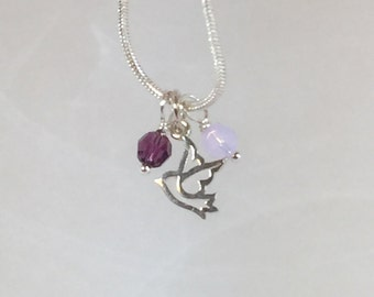 Necklace bird Sterling Silver tiny charm with crystals
