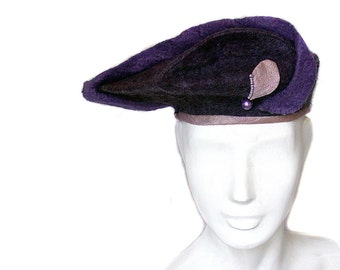 Sculptural Wedding Hat - Stylish Felted Purple Hat - Plum Colored Statement Hat - Wool Beret in Jewel Tones Elegant Art to Wear