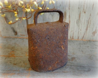 antique tiny primitive cow bell / hand forged farm bell / rustic sheep bell / cast iron metal / farmhouse ranch barn loft