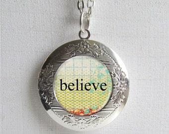 Photo Locket, Believe Necklace, Inspirational Jewelry, Locket Necklace