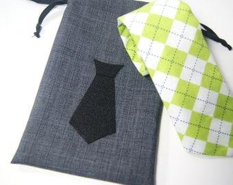 Small Groomsmen Necktie or Mustache Gift Bag - Small Mens Gift Bag - Small Mustache Bag