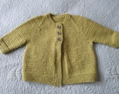 Hand knitted olive green baby cardigan