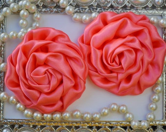 2 Large Satin Rolled Coral Rose/Rosettes- fabric flowers, satin flower, DIY headband supplies, accessory supplies
