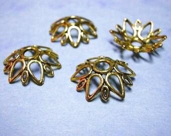 6pc 24mm antique gold lead nickel free bead cap-2035