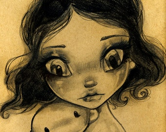 Just A Doll, Gothic BIG EYE Lowbrow Fantasy Portraiture 8x10 SIGNED Fine Art Print Wescoat