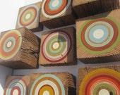 Hand Painted Tree Ring Wall Art Blocks on Reclaimed Barn Beams - Harmony Wall Decor - Set of 9 (9TRSHWB/HARMONY)