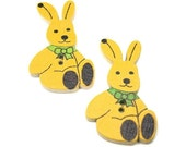 Bunny Buttons for Kids Clothing Painted Wood 2 hole Sunshine Yellow 2 Pack