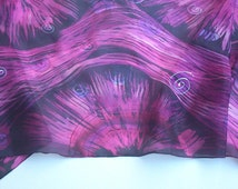 Abstract Wax Batik Purple and Black Hand Painted Silk Scarf for Ladies. Purple, Violet, Pink, Black.16x 59 inch Scarf OOAK Gift, Silk Art