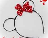 Minnie Mouse Ears Headband Disney Inspire Silk Wrapped Mouse Ears