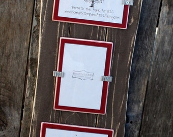 Picture Frame - Distressed Wood - Holds 3 - 4x6 Photos - 2 Horizontal and 1 Vertical  - Curved Sides - Brown & Barn Red