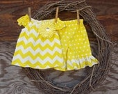 Girls Short Set, Kids short set,  summer outfit, Yellow Chevron shorts,  Ruffled Short, Kids Yellow shorts