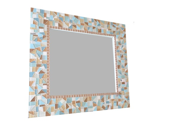 Large Mosaic Mirror in Aqua, Blue, Copper