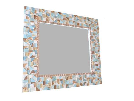 Large Mosaic Mirror in Aqua, Blue, Copper