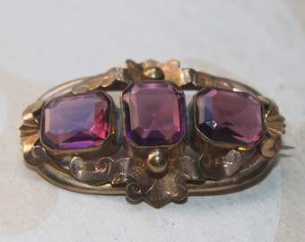 Antique Georgian English Brooch Victorian Revival Gold and Amethyst Ornate Brooch Pin-Aquarius TT Team