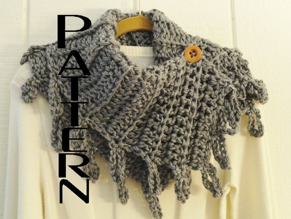 Crochet Infinity Scarf With Fringe Pattern : Crochet PATTERN Loopy Fringe Button Cowl by ...