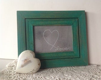 Vintage Textured Framed w/Heart Painting - Love Wall Decor