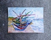 aceo VAN GOGH BOATS original small tiny redo in the style of cloudy sky blue green brown beige red pink black white kimartist sfa