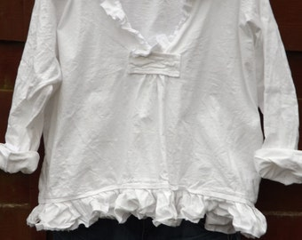 All Sizes RITANOTIARA Saffy Linen Prairie Oversized shirt All Sizes Oversize Mid West Prairie Shabby Chic Hippy Boho Lagenlook long sleeves