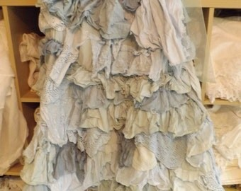 RITANOTIARA Lisa glamping skirt vintage lace ruffles made to order cotton All SIzes Oversize Mid West Prairie Shabby Chic Boho Lagenlook