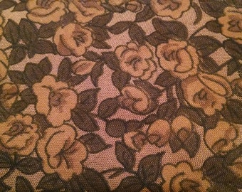 Brown Calico Fabric   2 1/2 yards