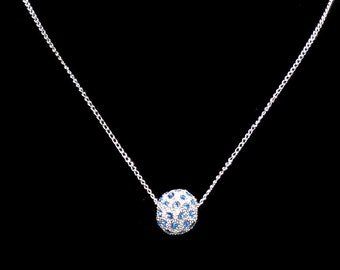 14mm Light Sapphire Crystal Bead Necklace