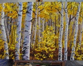 Original 24x36 Autumn Birch Tree in Yellow, Heavy Texture Painting on Gallery Canvas by J. Mandrick