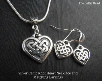 Silver Celtic Knot Heart Necklace and Matching Earring Set
