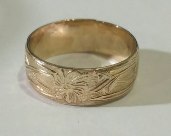 gold filled finger ring band flower pattern comfortable fit custom sized