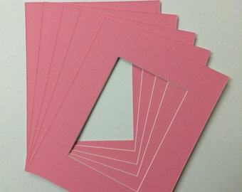 Package of 10 11X14 Bubble Gum Pink Mats with White Core Bevel Cut for 8X10  Pictures