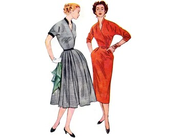 1950s Dress Pattern Simplicity 4469, Full or Slim Skirt Dress, V-Neckline, Surplice Bodice, 1953 Vintage Sewing Pattern Bust 30 Uncut